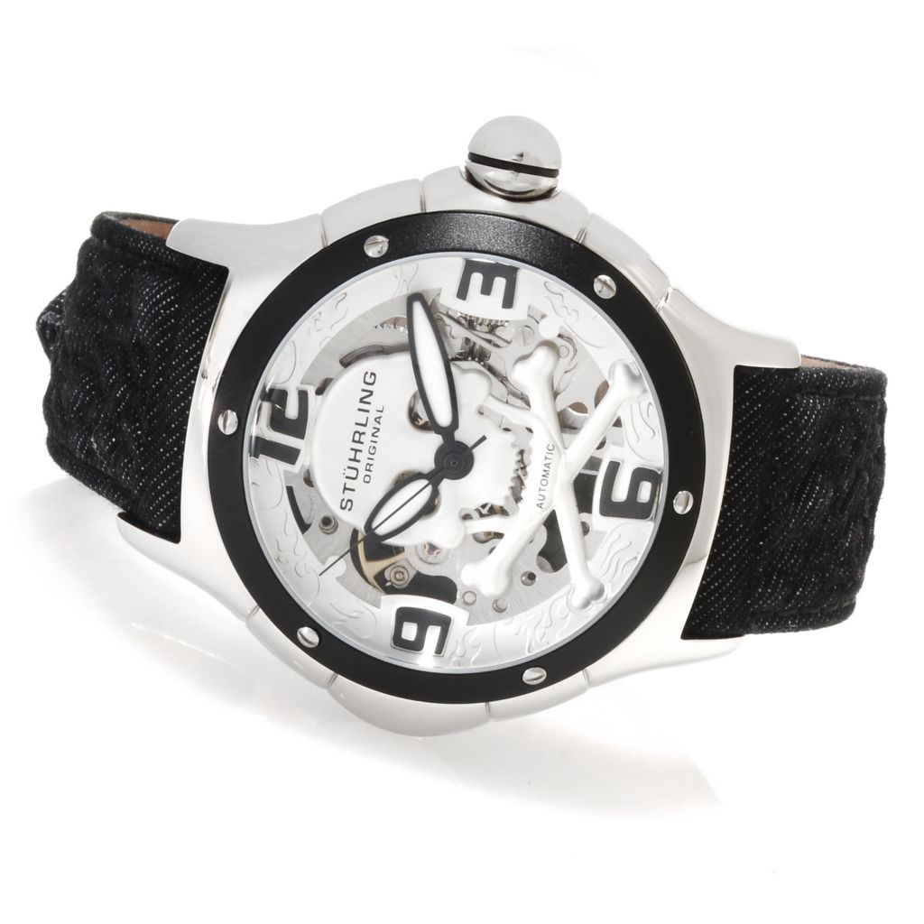 625-300 - Stührling Original Men's Alpine Reaper Automatic Skeletonized Leather Strap Watch
