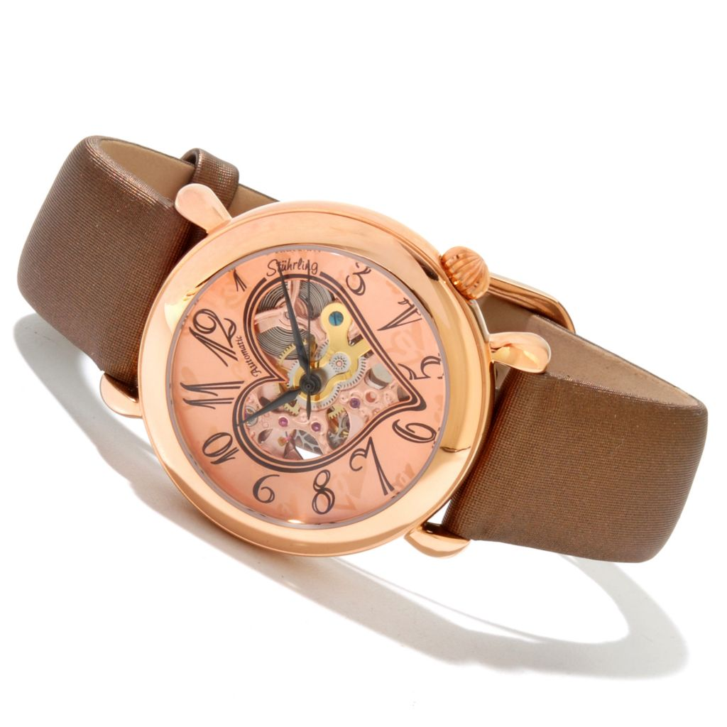 625-302 - Stührling Original 35mm Cupid 2 Automatic Skeletonized Dial Leather Strap Watch