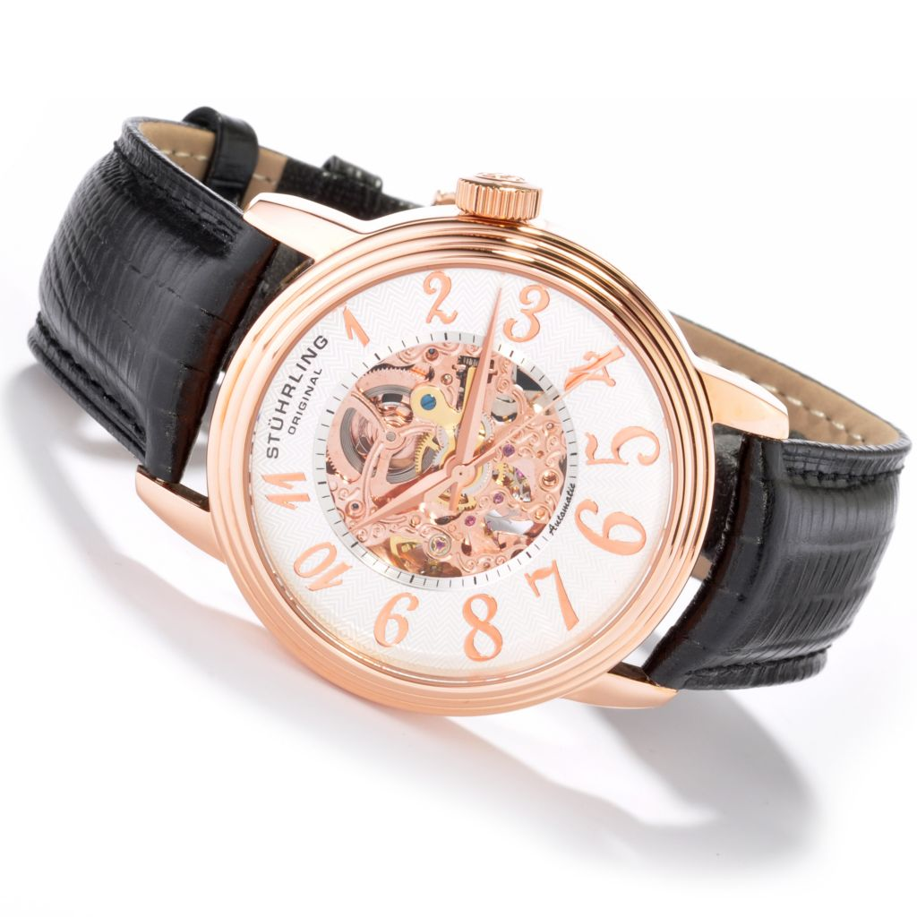 625-305 - Stuhrling Original Men's Apollo Skeleton Automatic Strap Watch