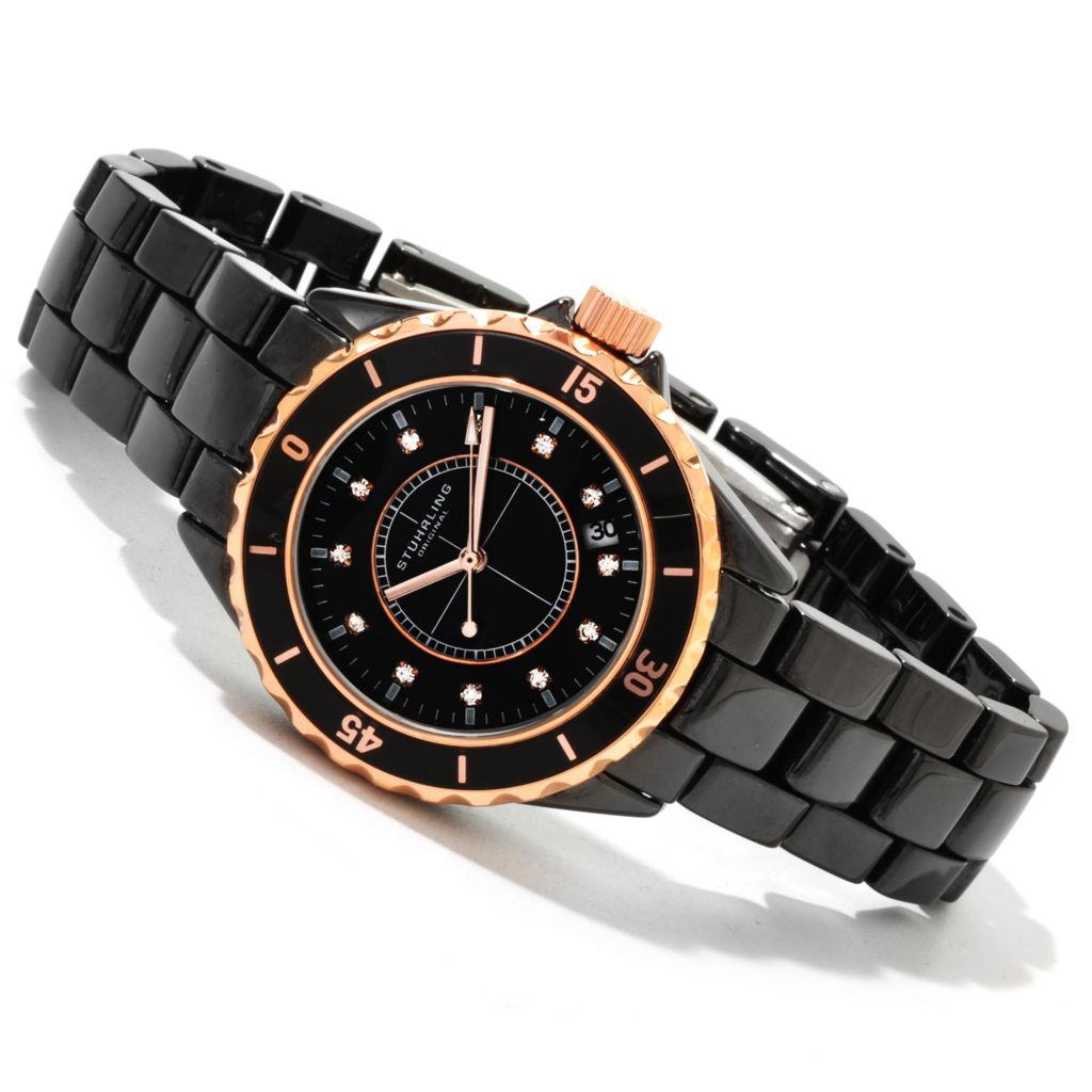625-306 - Stührling Original Purity Ceramic Bracelet Watch Made w/ Swarovski® Elements