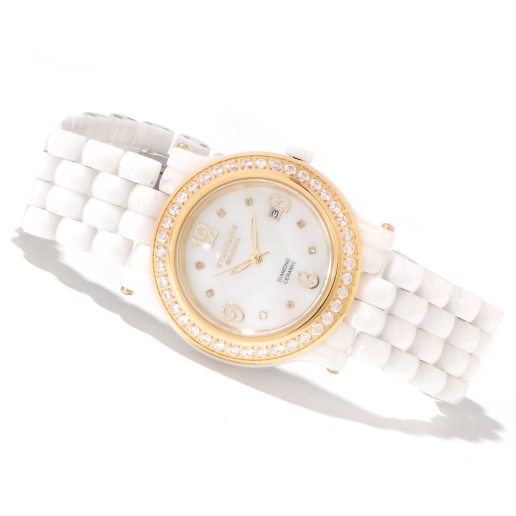 625-309 - Stührling Original Women's Grace Quartz Ceramic Bracelet Watch Made w/ Swarovski® Elements