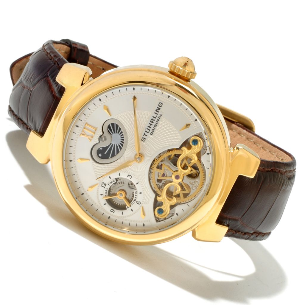 625-310 - Stührling Original 41mm Magister Automatic Dual Time Open Heart Strap Leather Watch