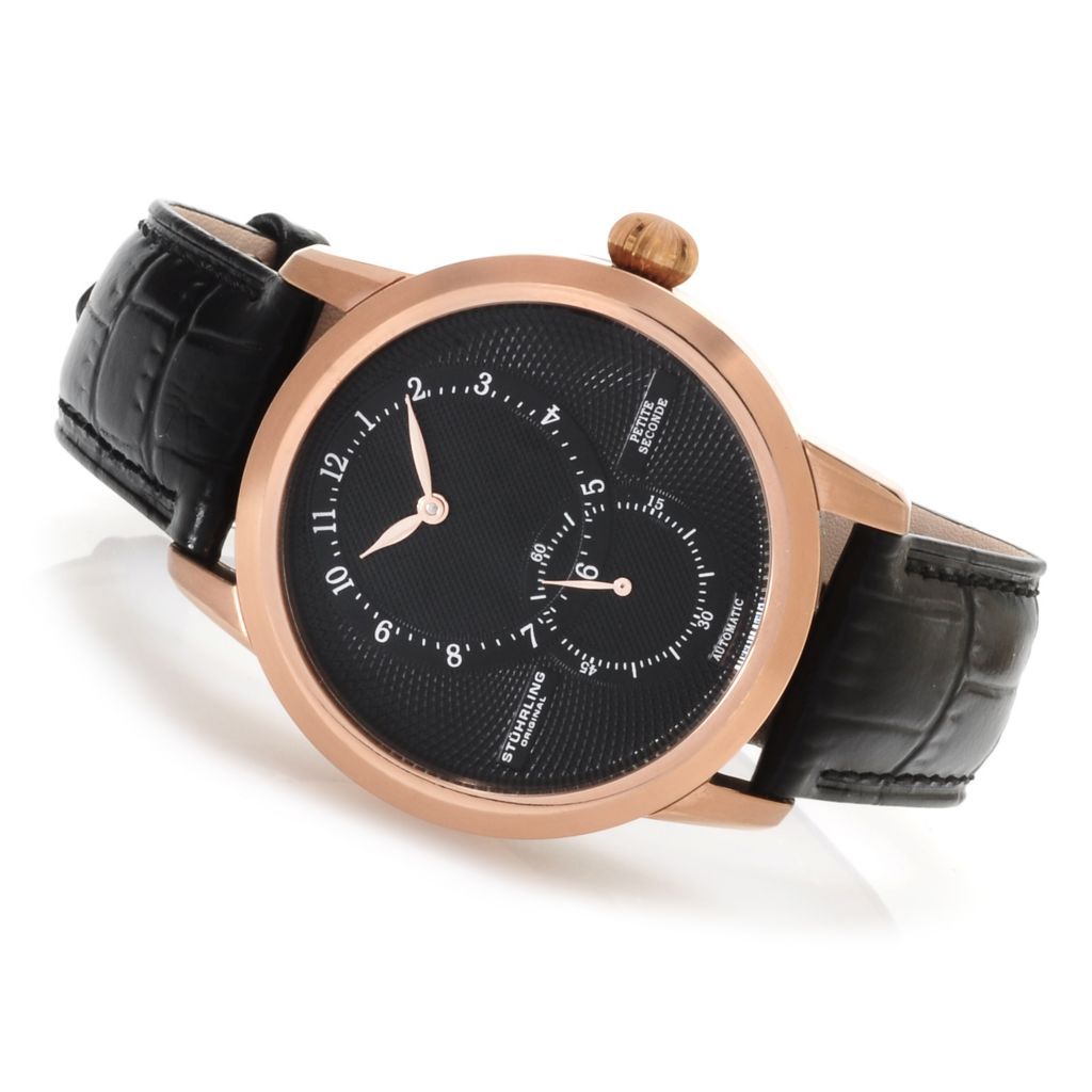 625-312 - Stührling Original 41mm Symphony Eclipse Prominence Automatic Leather Strap Watch