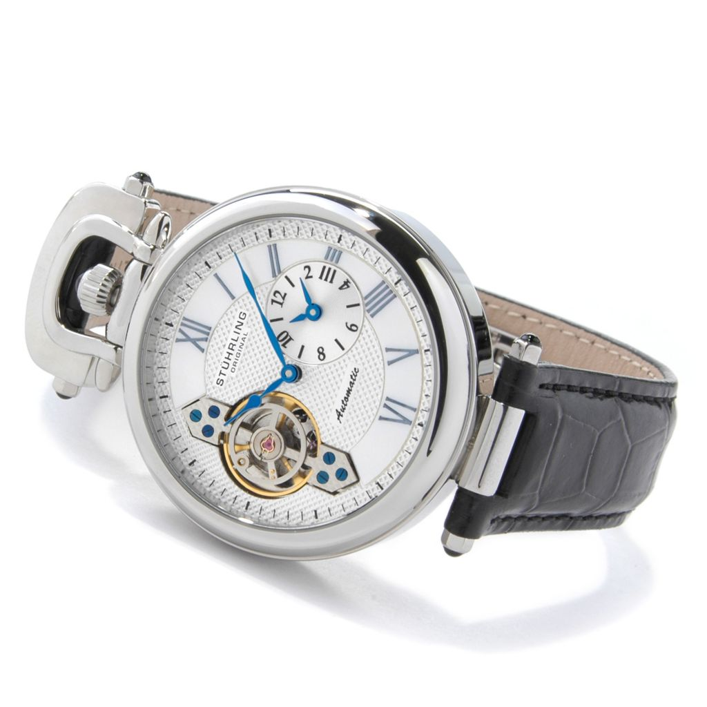 625-313 - Stührling Original Men's Emperor Dual Time Zone Automatic Leather Strap Watch