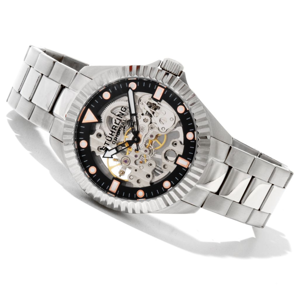 625-314 - Stührling Original 43mm Diadem Mechanical Skeletonized Stainless Steel Bracelet Watch