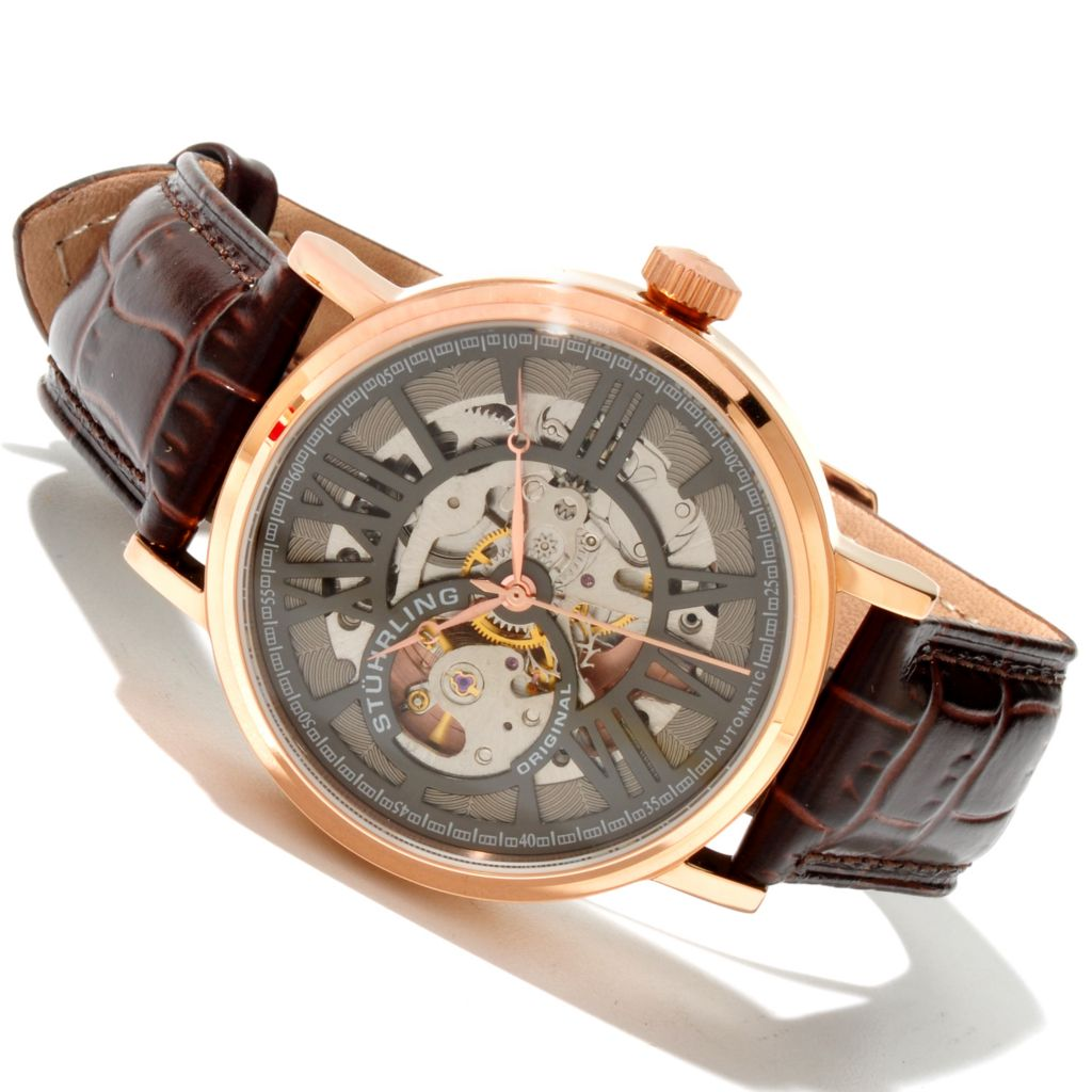 625-317 - Stührling Original 40mm Delphi Automatic Skeletonized Dial Leather Strap Watch