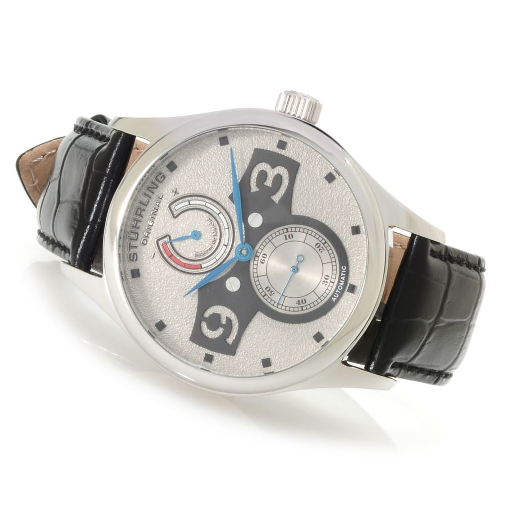 625-319 - Stührling Original 44mm Khepri Automatic Power Reserve Leather Strap Watch