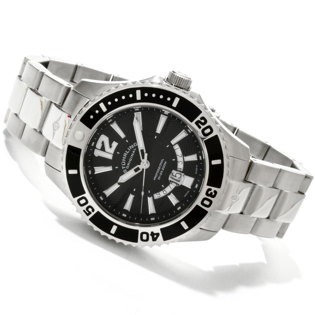 625-321 - Stuhrling Original Men's Regatta Diver Stainless Steel Bracelet Watch