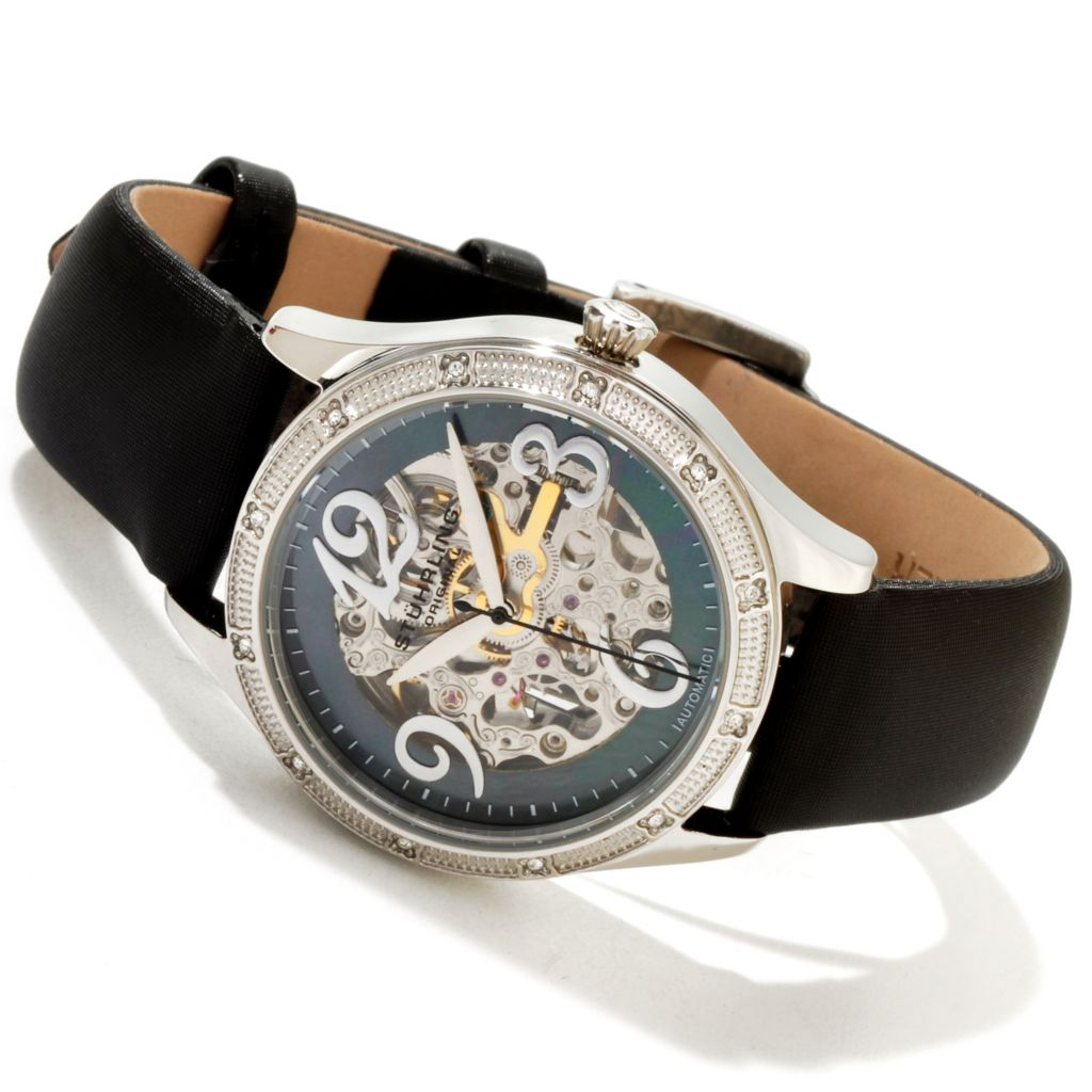 625-328 - Stührling Original Women's Audrey Automatic Skeletonized Stainless Steel Leather Strap Watch