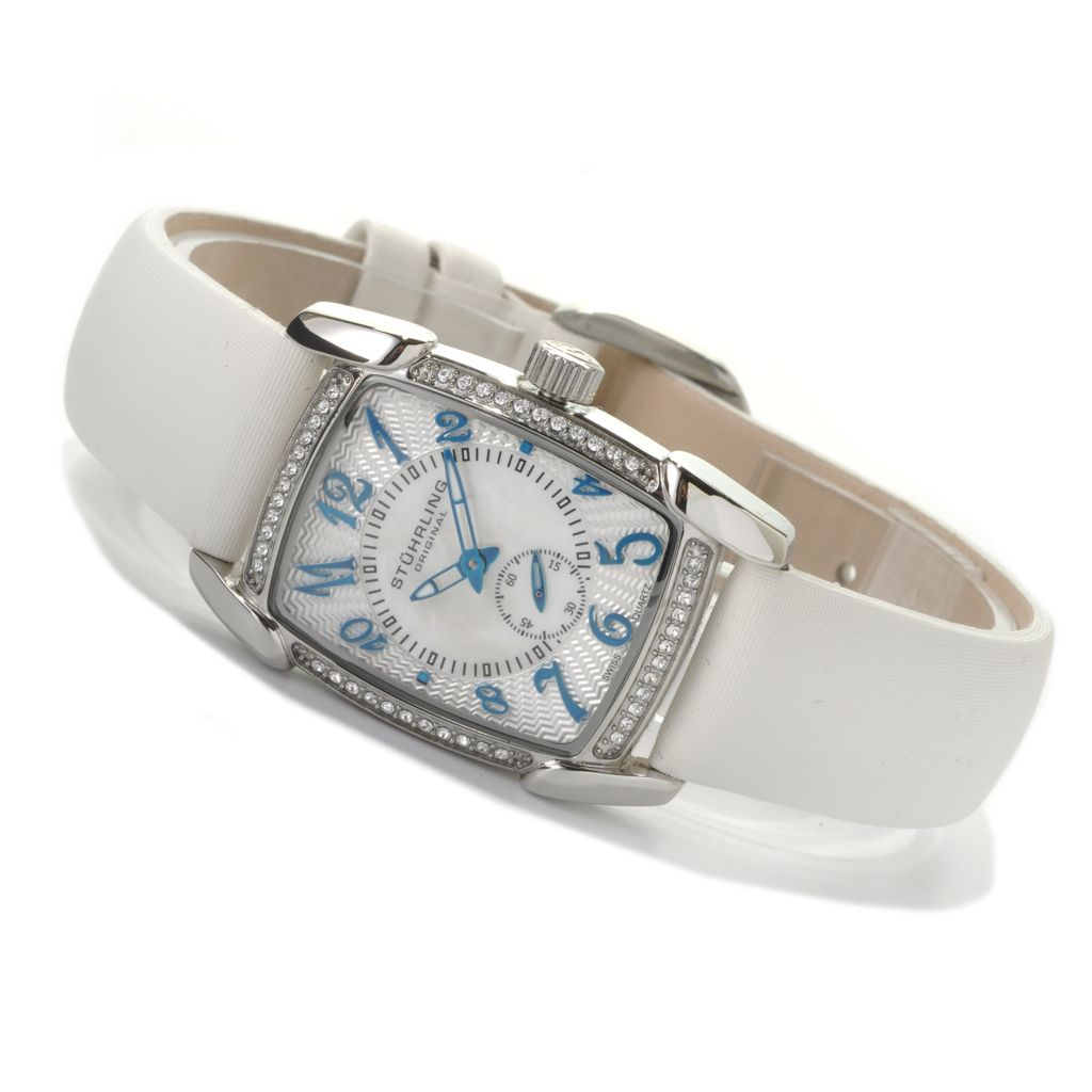 625-329 - Stührling Original Women's Quartz Leather Strap Watch Made w/ Swarovski® Elements