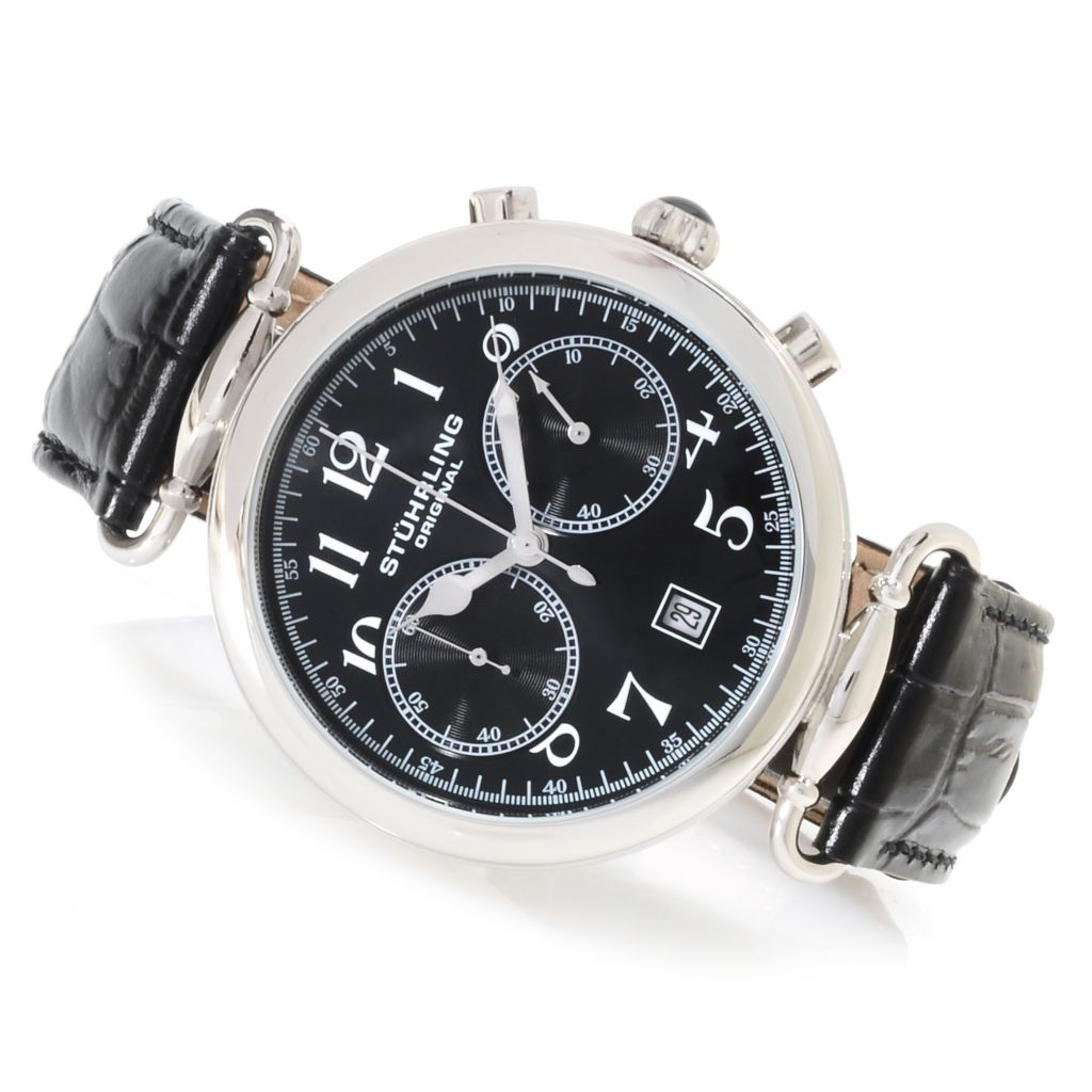 625-330 - Stührling Original 45mm Velocity Quartz Chronograph Leather Strap Watch