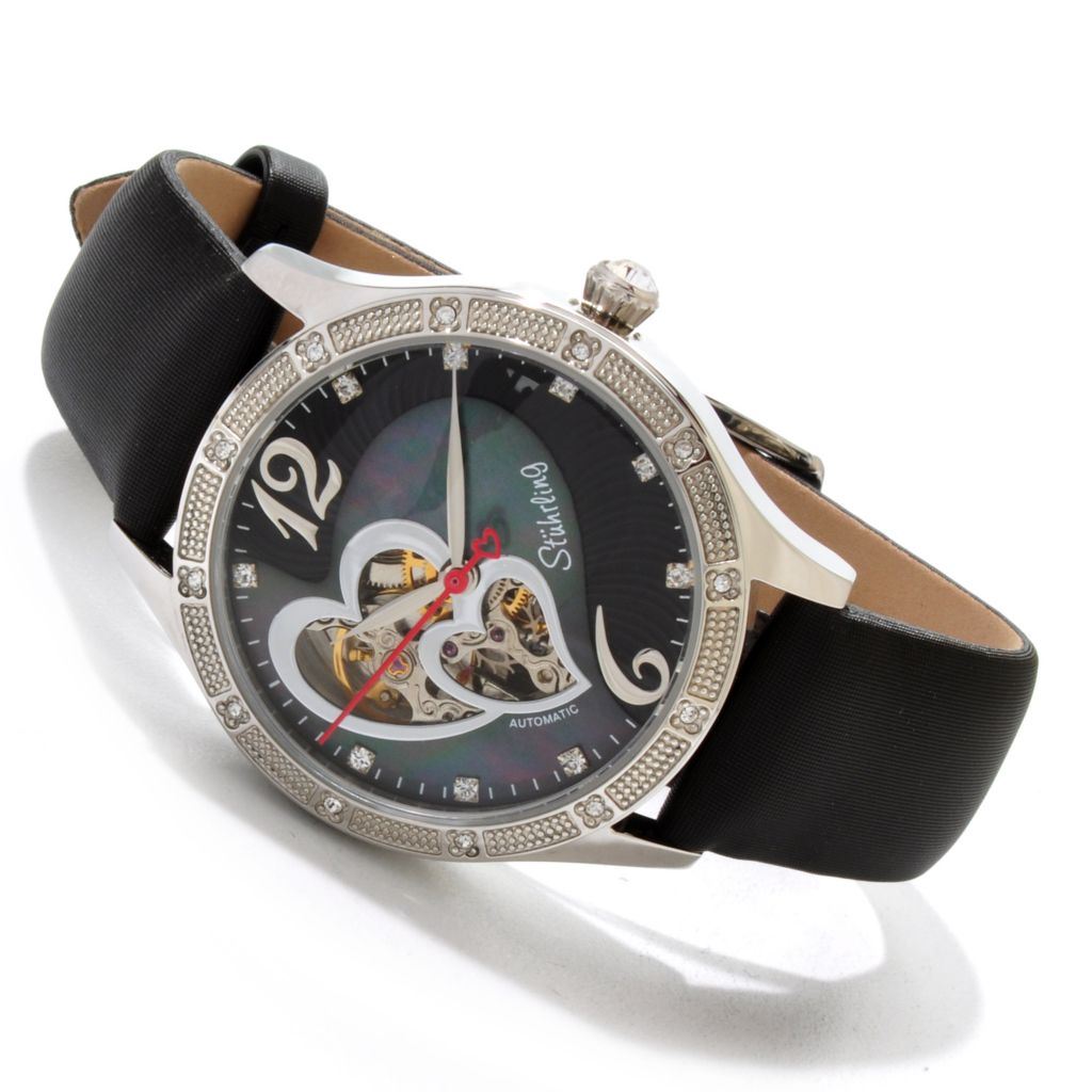 625-333 - Stuhrling Original Women's Audrey Heart Automatic Open Heart Strap Watch