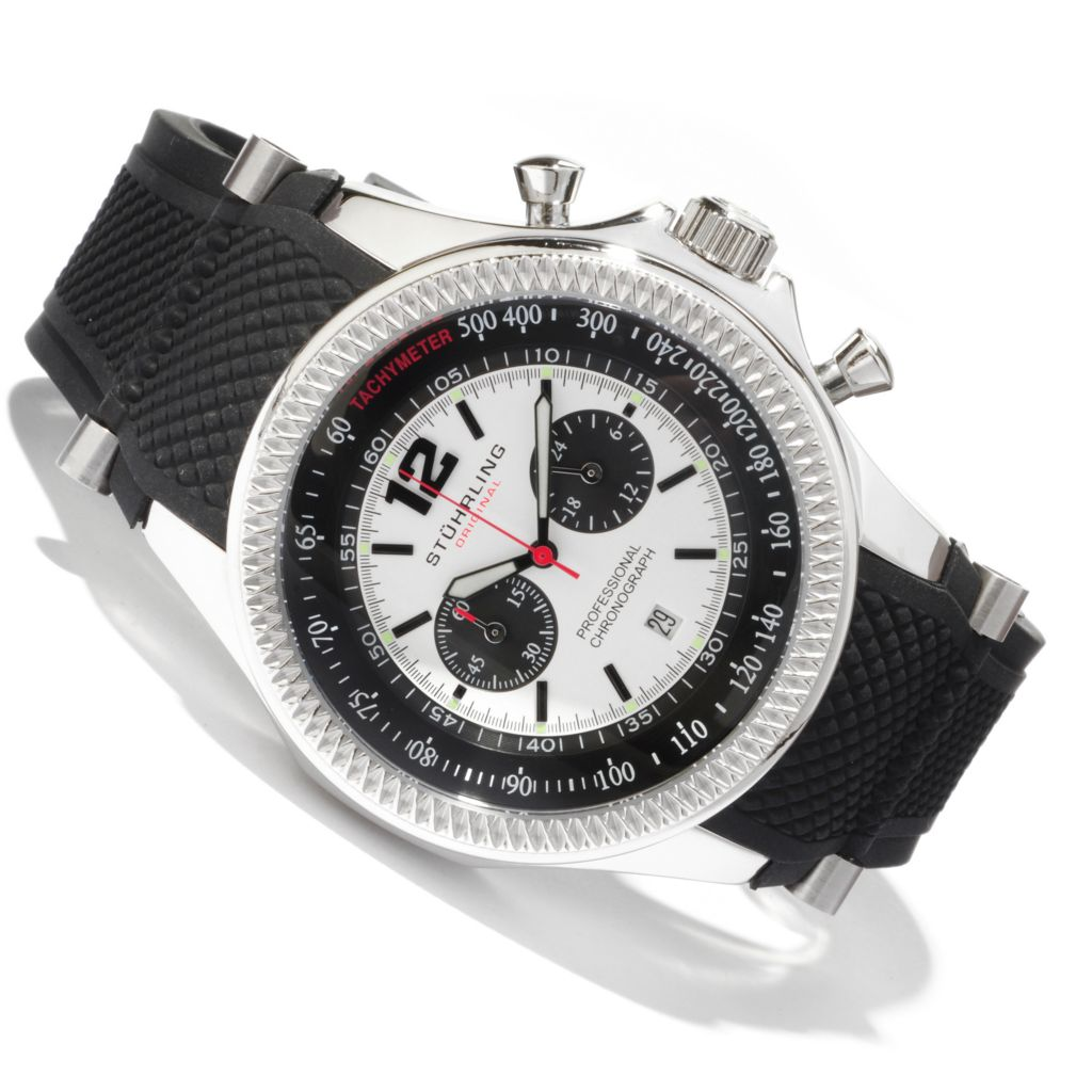 625-334 - Stührling Original Men's Targa Sport Quartz Chronograph Stainless Steel Case Rubber Strap Watch