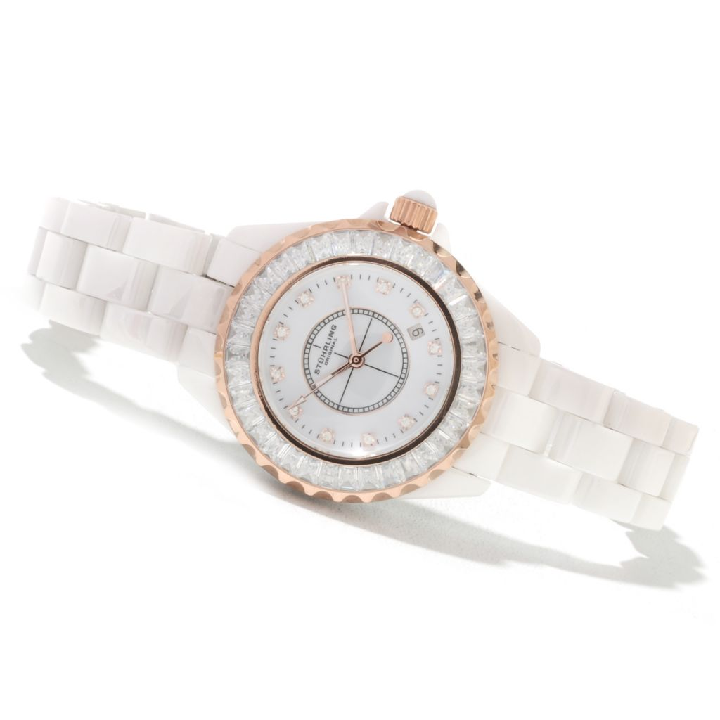 625-336 - Stuhrling Original Women's Quartz Glamour III Ceramic Bracelet Watch Made w/ Swarovski® Elements