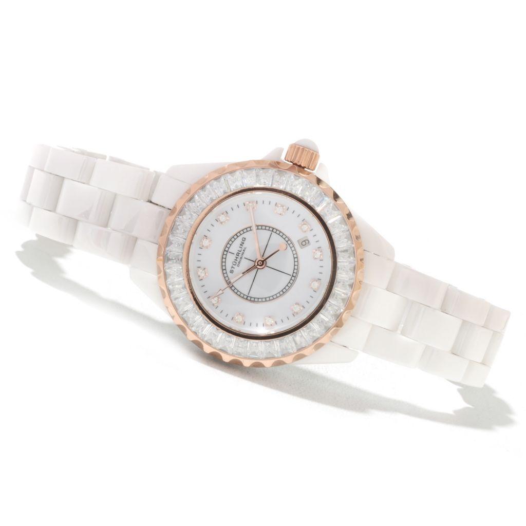 625-336 - Stuhrling Original Women's Quartz Glamour III Ceramic Bracelet Watch Made w/ Swarovski® Elements