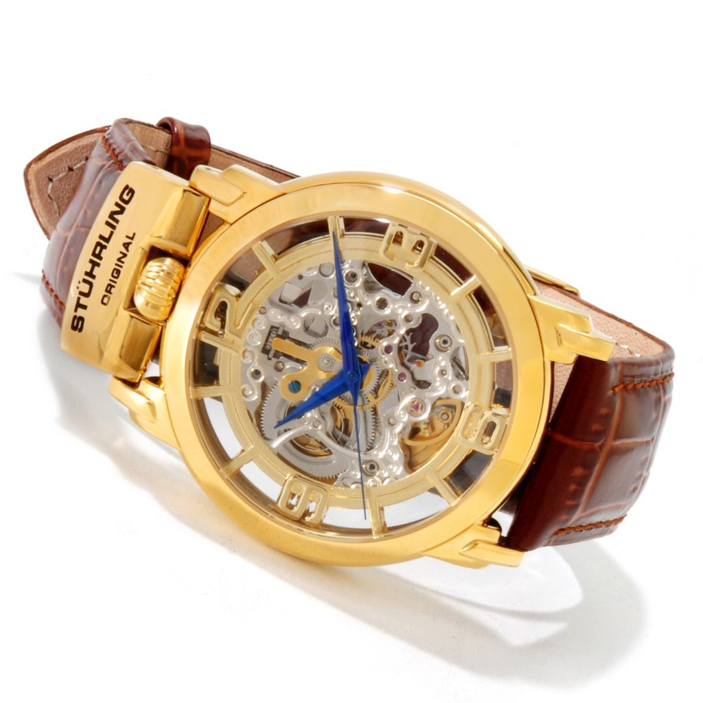 625-343 - Stührling Original Men's Winchester General Skeleton Automatic Leather Strap Watch