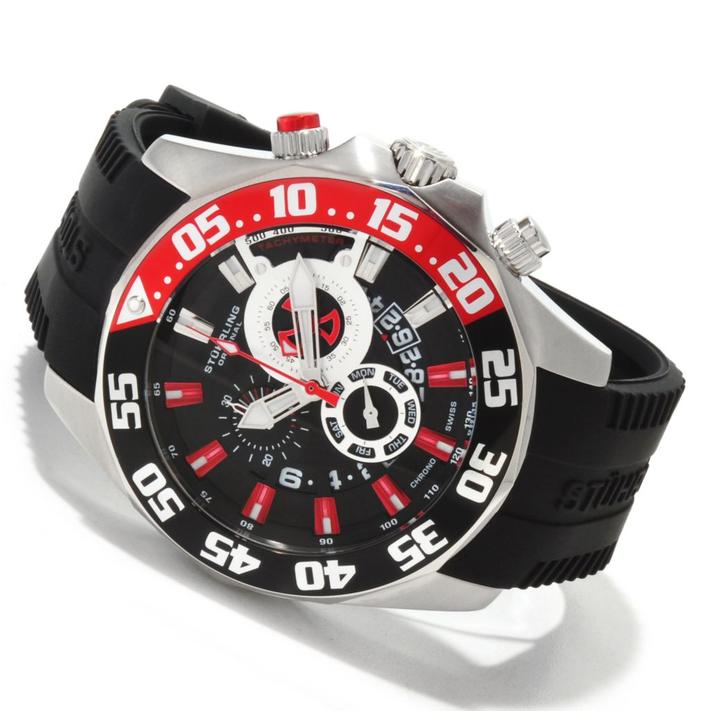 625-346 - Stührling Original 47mm Nautico Quartz Chronograph Rubber Strap Watch
