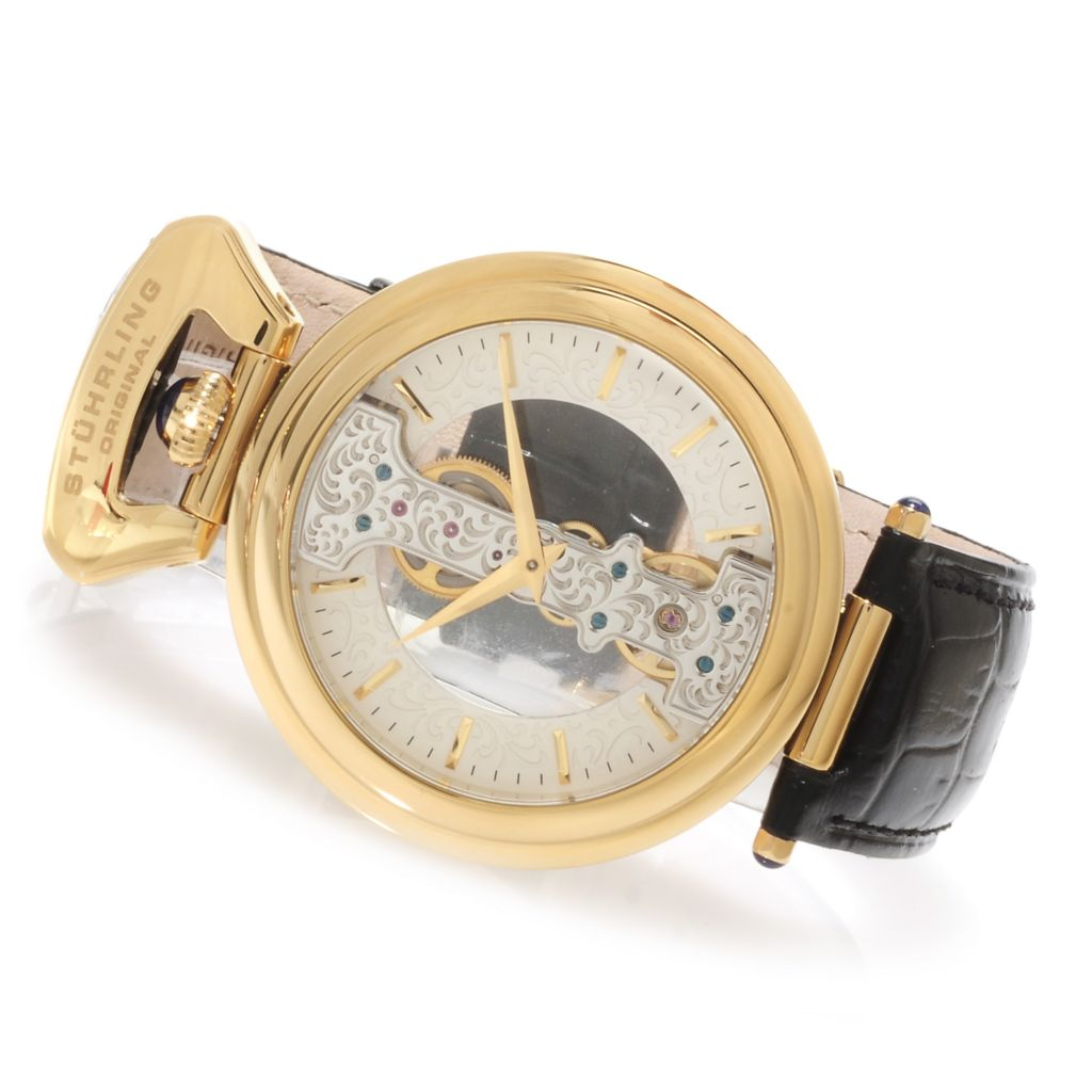 625-347 - Stührling Original 45mm Emperor Mechanical Skeletonized Leather Strap Watch