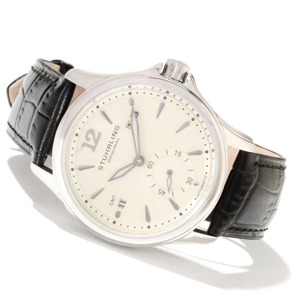 625-349 - Stührling Original Men's Eternity Automatic GMT Leather Strap Watch