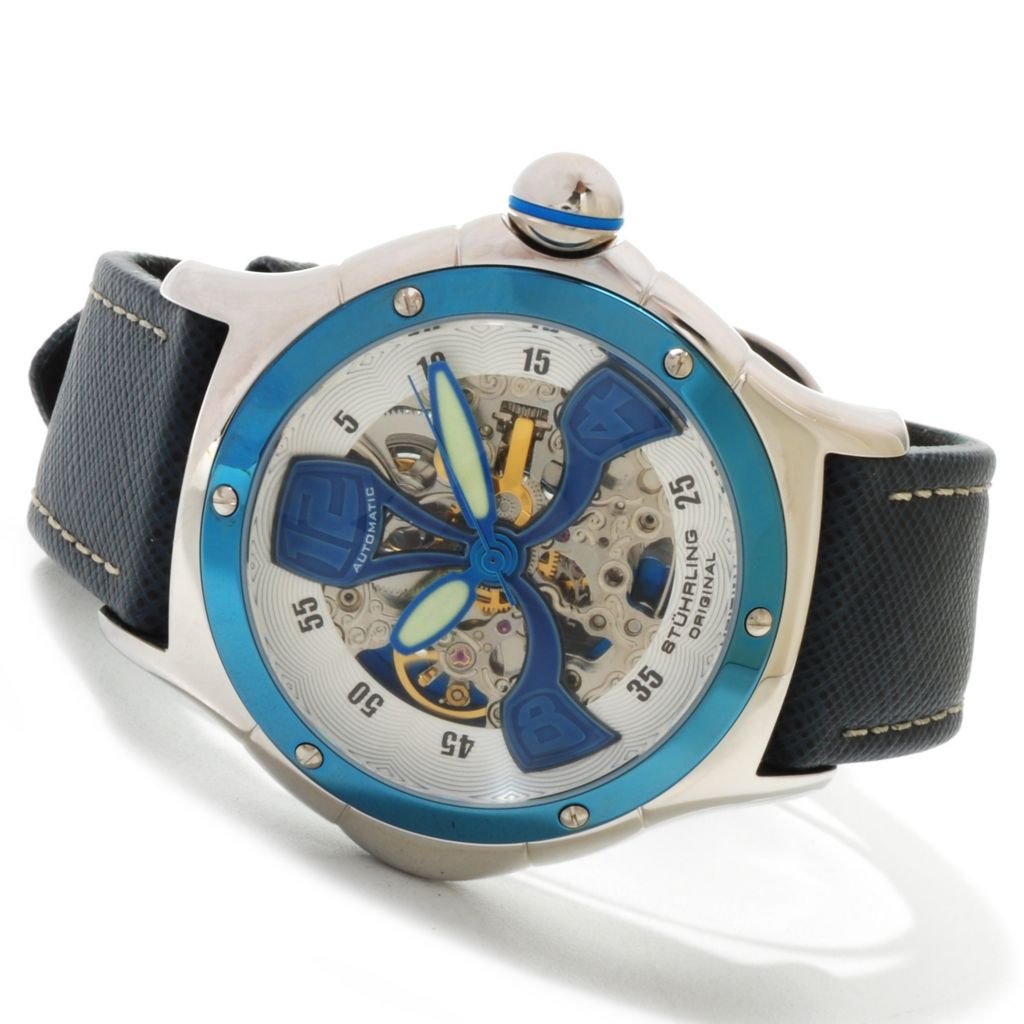 625-350 - Stührling Original 45mm Alpine Automatic Skeleton Leather Strap Watch