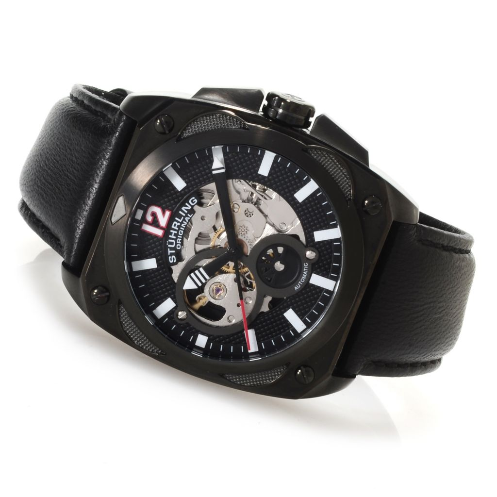 625-353 - Stührling Original Men's Automatic Skeletonized Leather Strap Watch