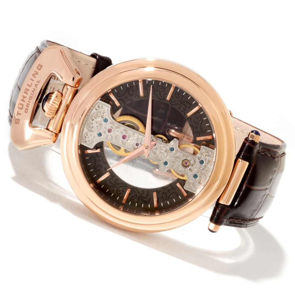 625-359 - Stührling Original Men's Emperor Spire Mechanical Skeletonized Leather Strap Watch
