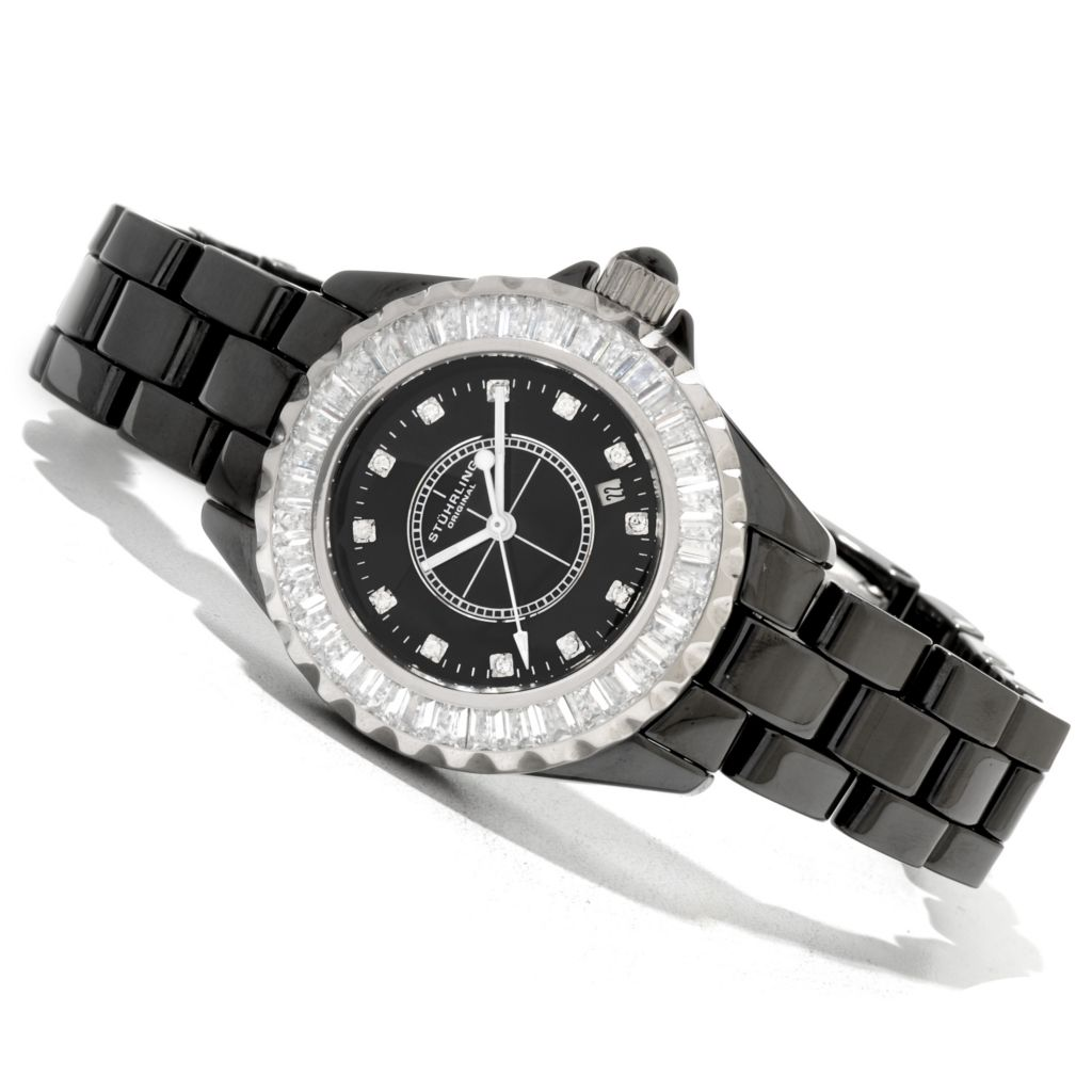 625-360 - Stührling Original Women's Glamour III Quartz Crystal Accented Ceramic Bracelet Watch