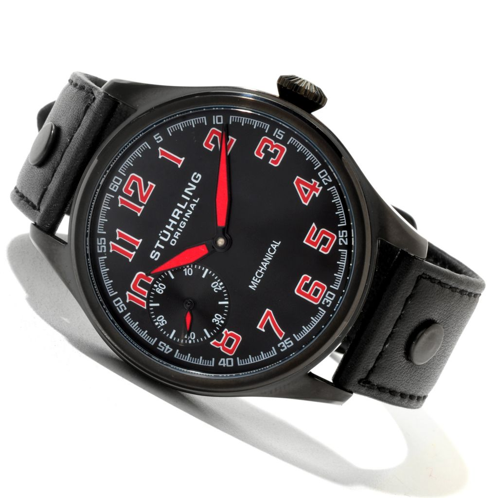 625-366 - Stührling Original 45mm Legacy Sport Mechanical Leather Strap Watch