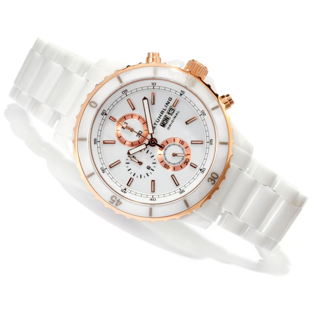 625-367 - Stührling Original Men's Regatta Quartz Chronograph Ceramic Bracelet Watch