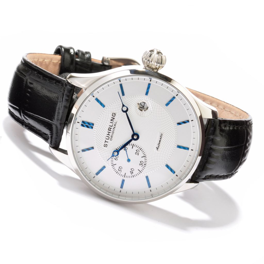625-368 - Stührling Original 45mm Classic Automatic Leather Strap Watch