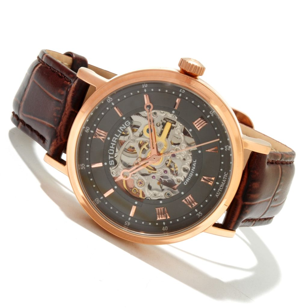 625-373 - Stührling Original Men's Lexington Automatic Skeletonized Dial Leather Strap Watch