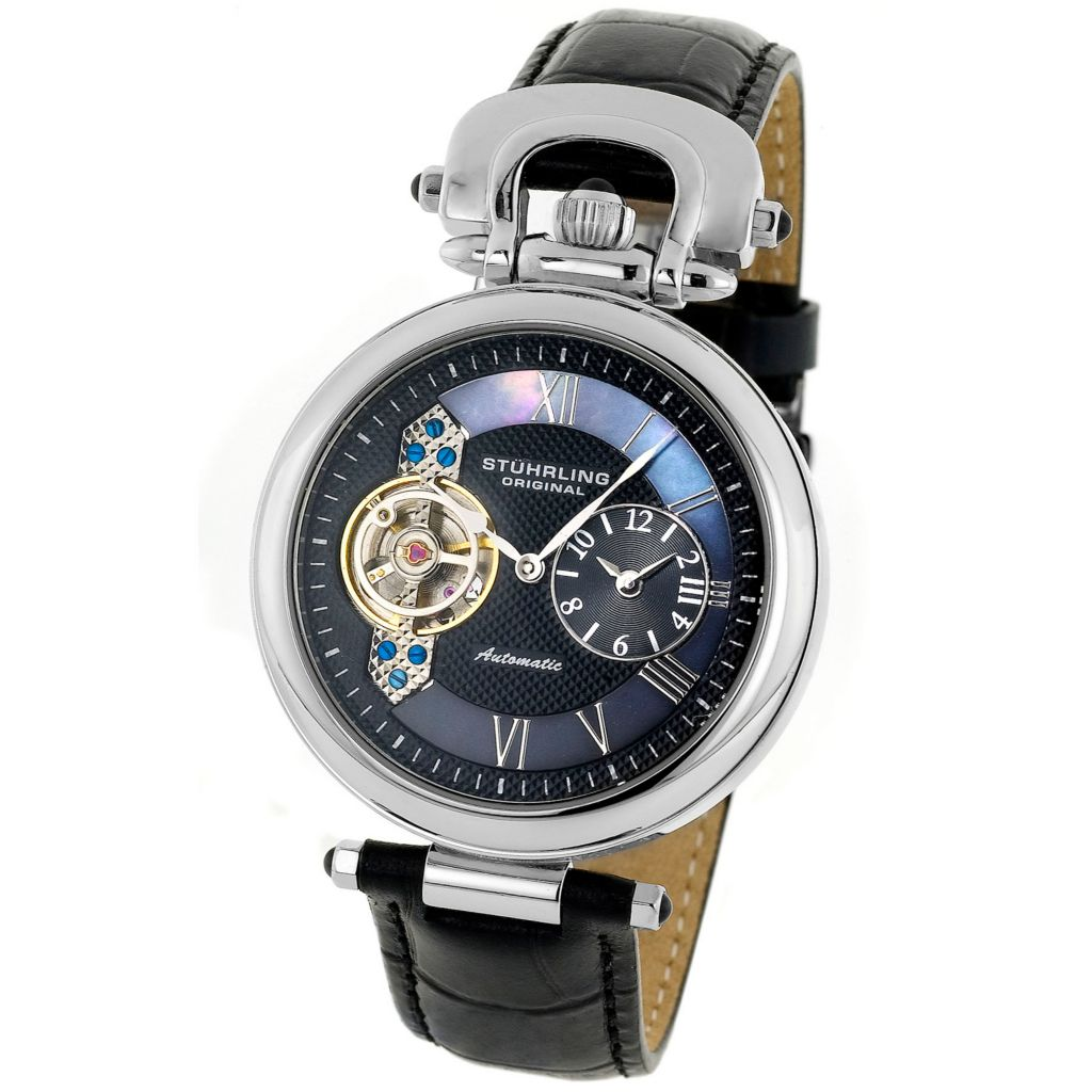625-374 - Stührling Original 41mm Emperor Automatic Dual Time Zone Leather Strap Watch
