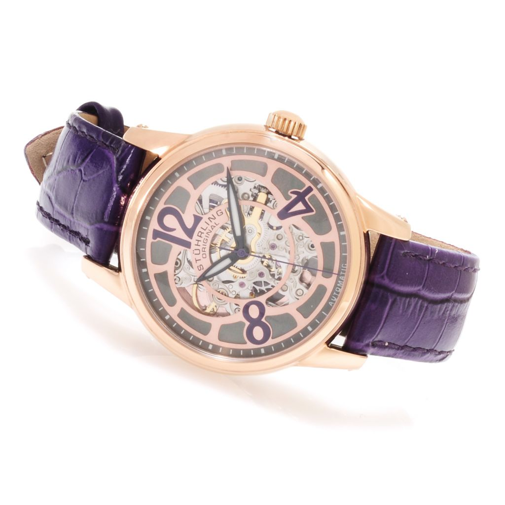 625-376 - Stührling Original Women's Audrey Rosetta Automatic Skeleton Leather Strap Watch