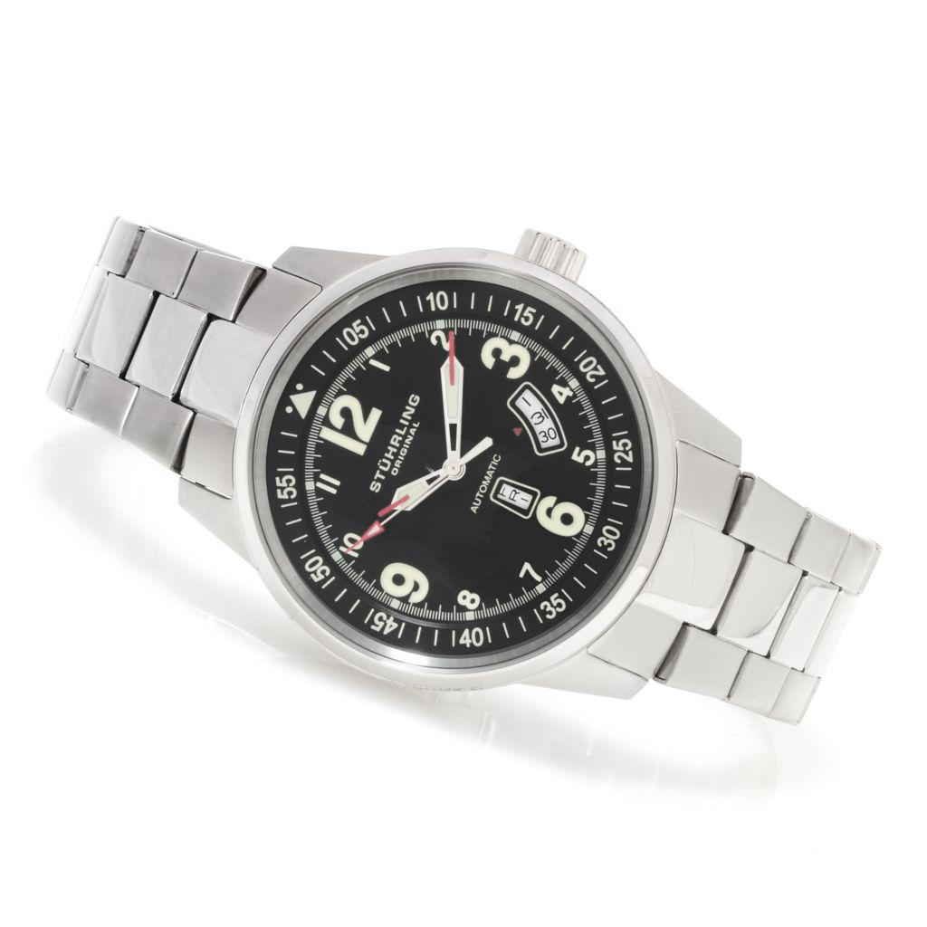 625-378 - Stührling Original 46mm Tuskegee Elite Automatic Stainless Steel Bracelet Watch