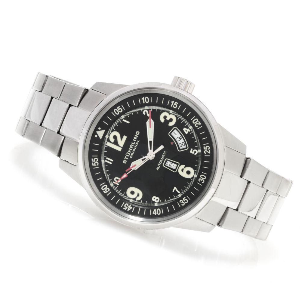 625-378 - Stührling Original 46mm Tuskegee Elite Automatic Stainless Steel Bracelet Watch