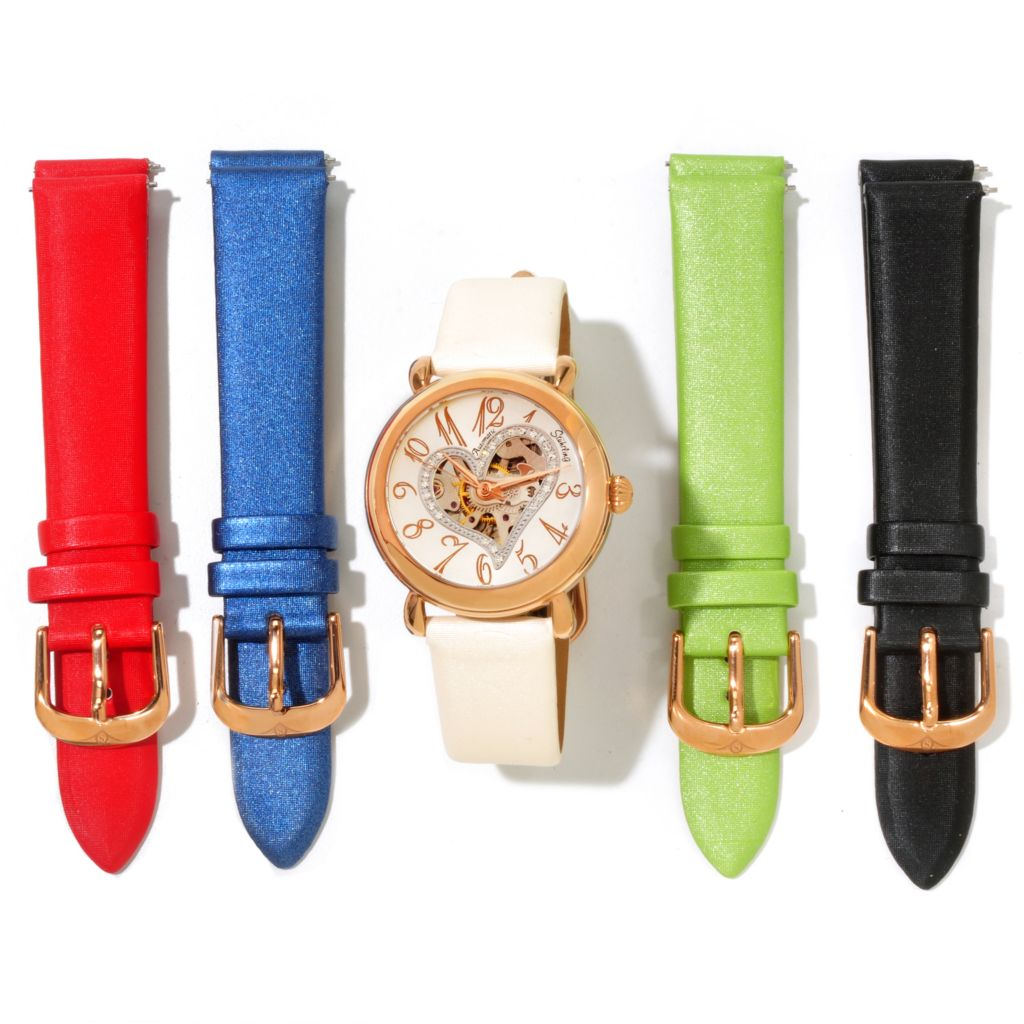 625-380 - Stührling Original Women's Cupid Automatic Strap Watch w/ 4 Extra Straps