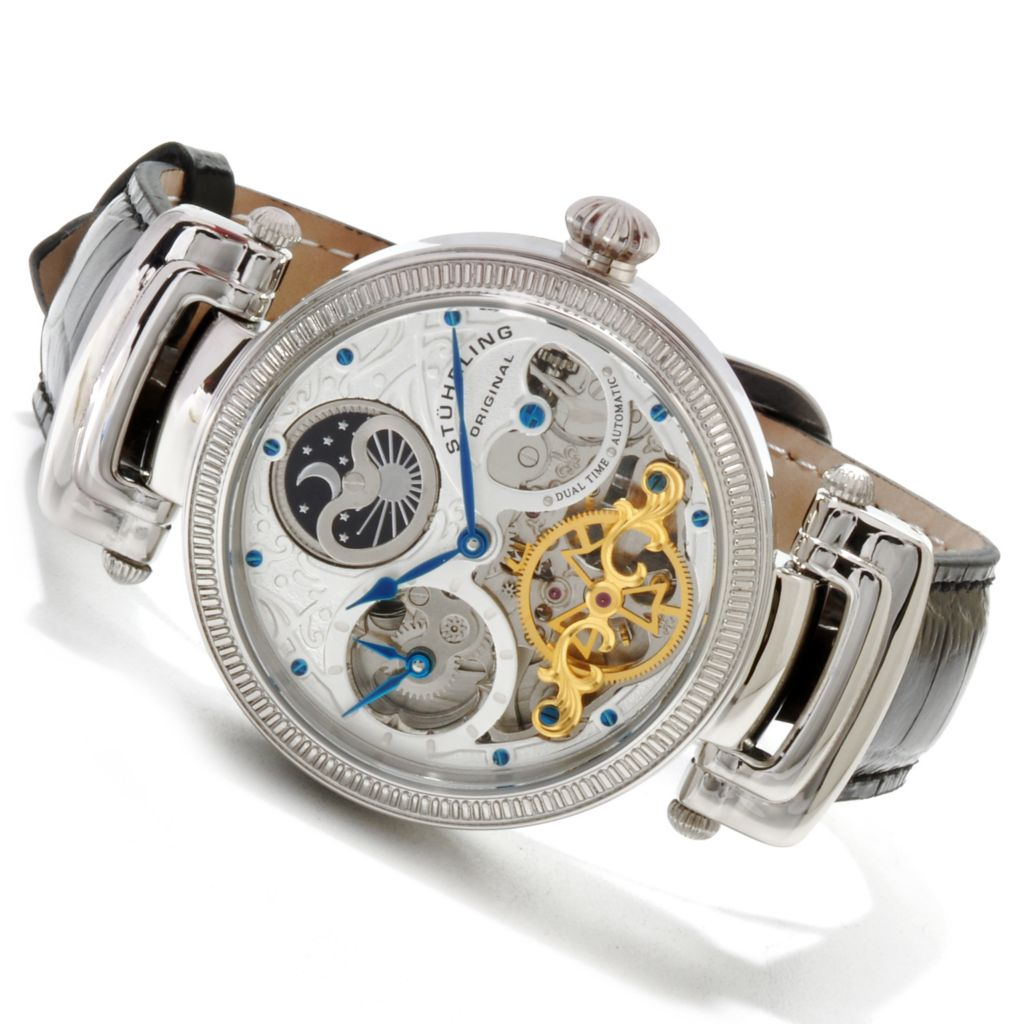 625-387 - Stuhrling Original 41mm Magistrate Automatic Skeleton Stainless Steel Strap Watch