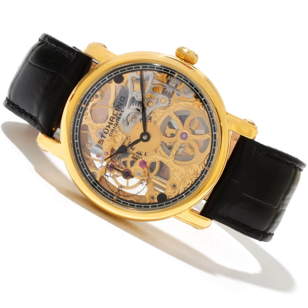 625-389 - Stührling Original Men's Avon Mechanical Skeletonized Dial Leather Strap Watch