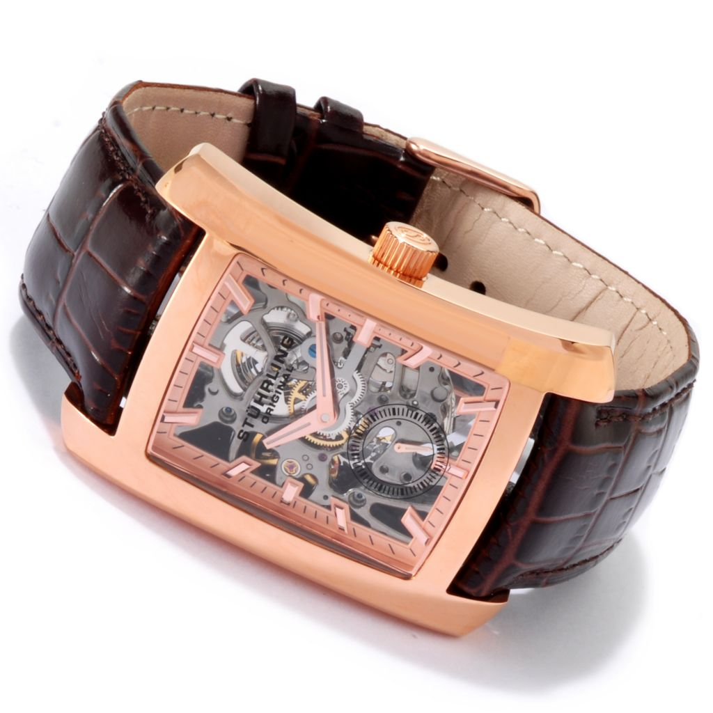 625-390 - Stührling Original Rectangular Gatsby Mechanical Skeletonized Leather Strap Watch
