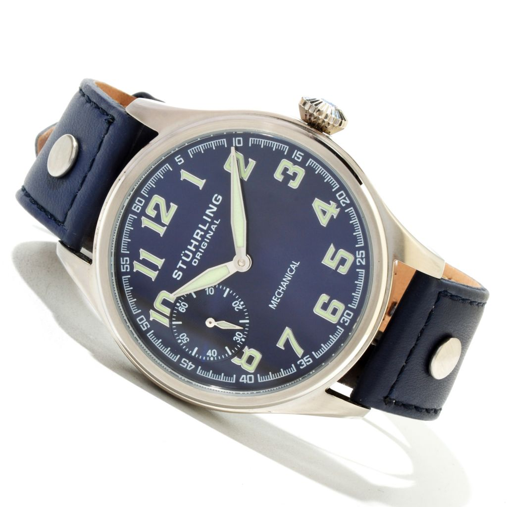 625-391 - Stührling Original 45mm Legacy Sport Mechanical Leather Strap Watch
