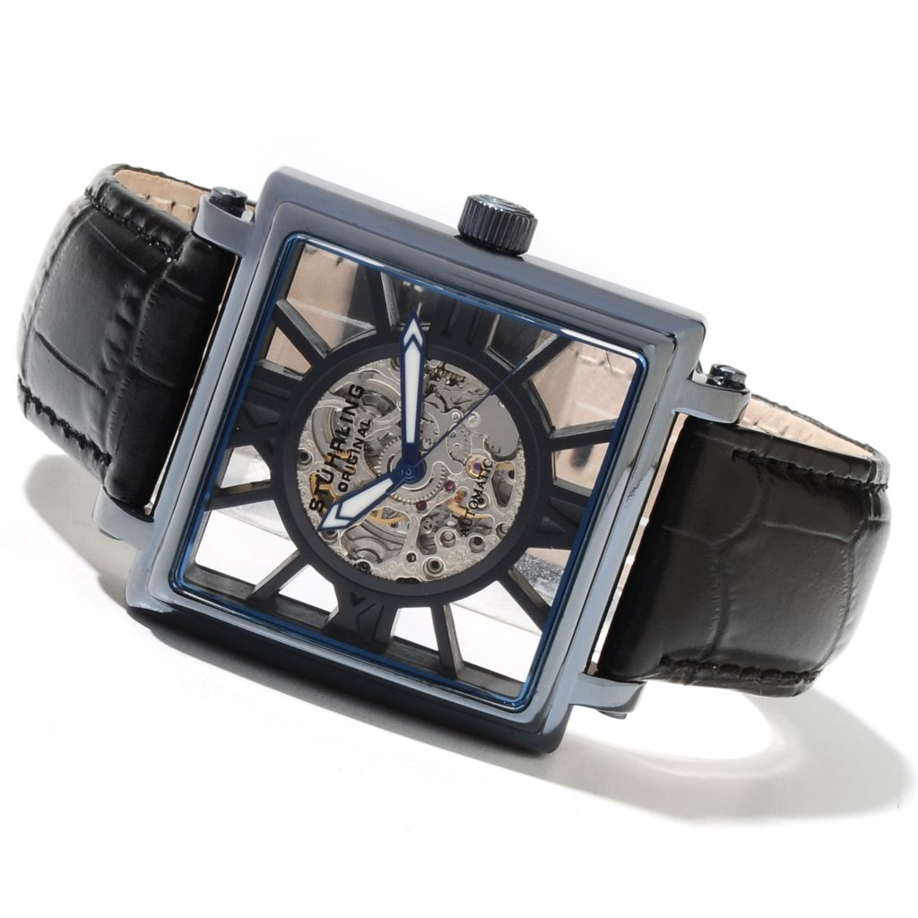 625-393 - Stührling Original 37mm Winchester Illusion Automatic Skeletonized Dial Leather Strap Watch