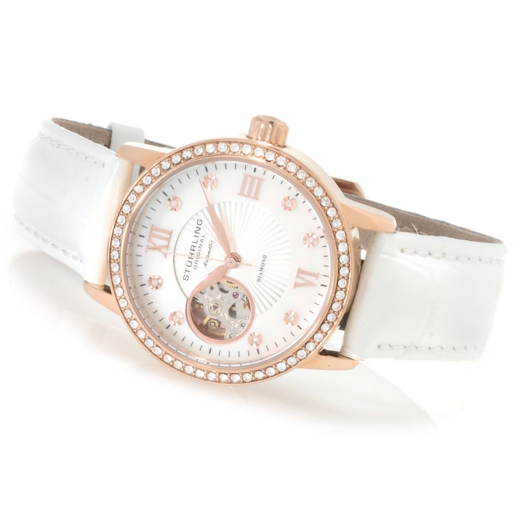 625-395 - Stührling Original Women's Memoire Automatic Strap Watch Made w/ Swarovski® Elements