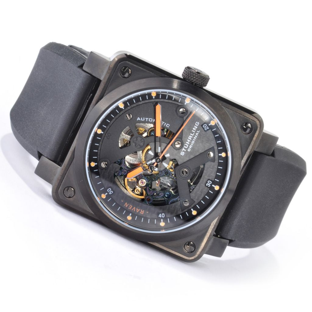625-398 - Stührling Original 42mm Raven Diablo Automatic Rubber Strap Watch