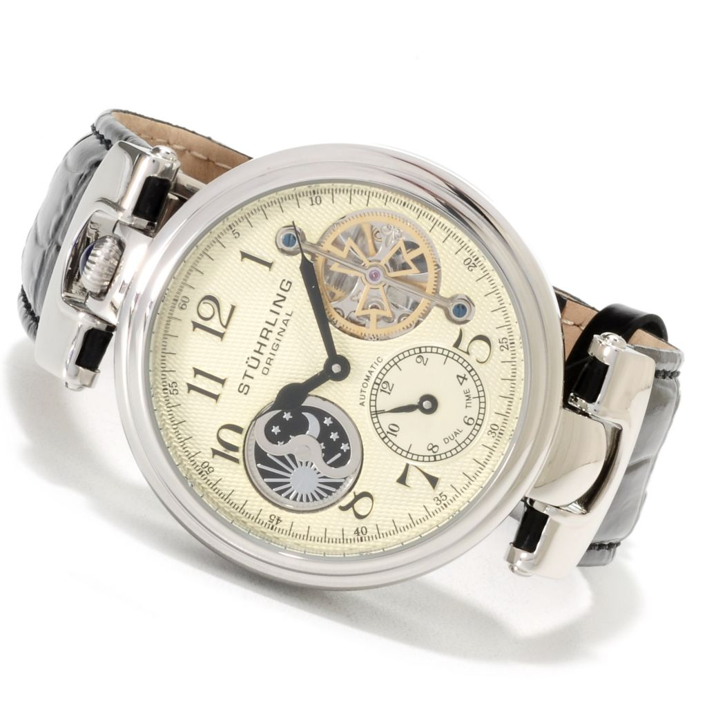 625-402 - Stührling Original 44mm Emperor Automatic Dual Time Leather Strap Watch