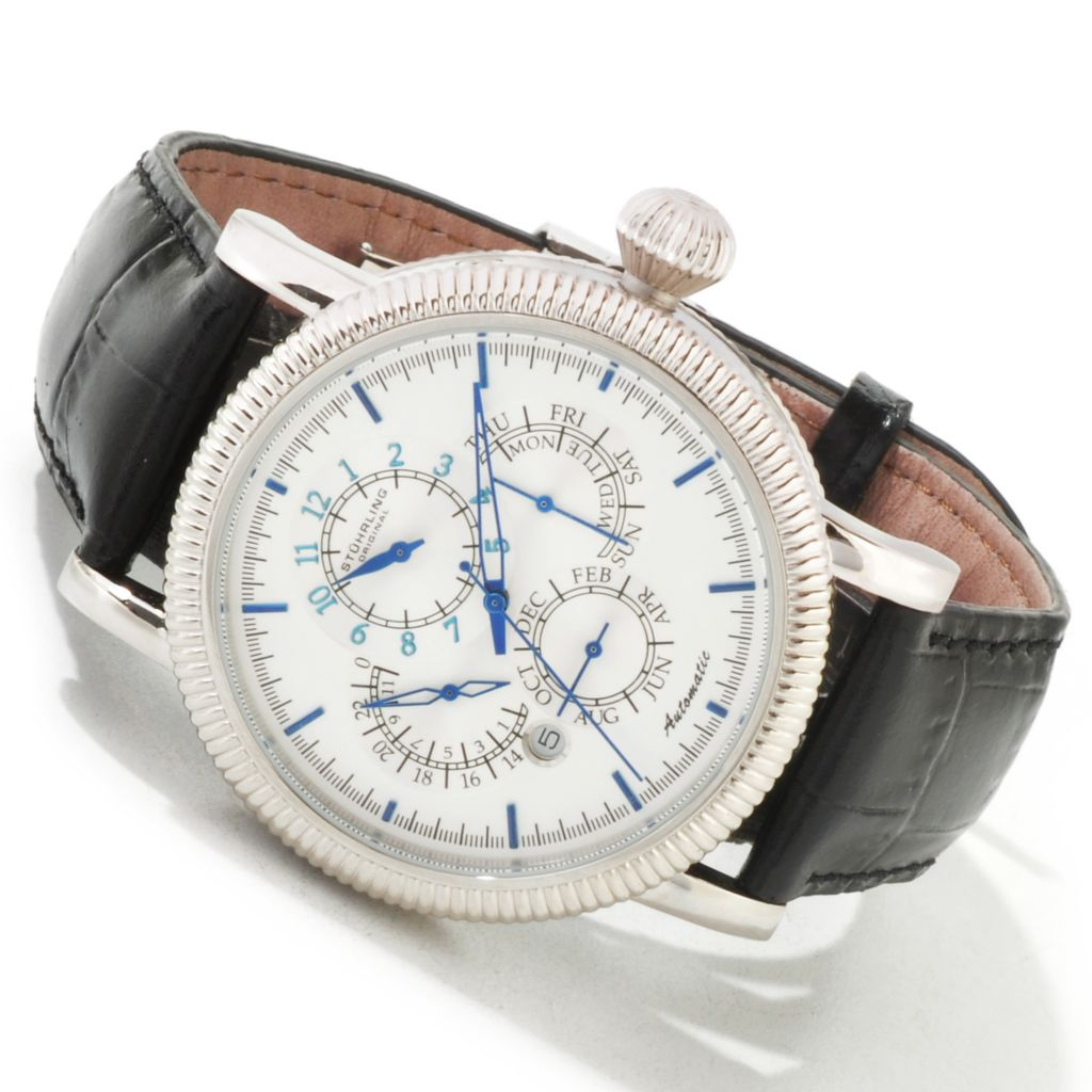 625-407 - Stührling Original 44mm Timemaster Symphony Automatic Master Calendar Leather Strap Watch