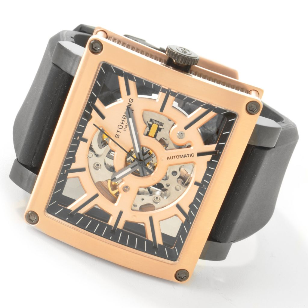 625-410 - Stührling Original Rectangular Axis Rectangle Skeleton Rubber Strap Watch