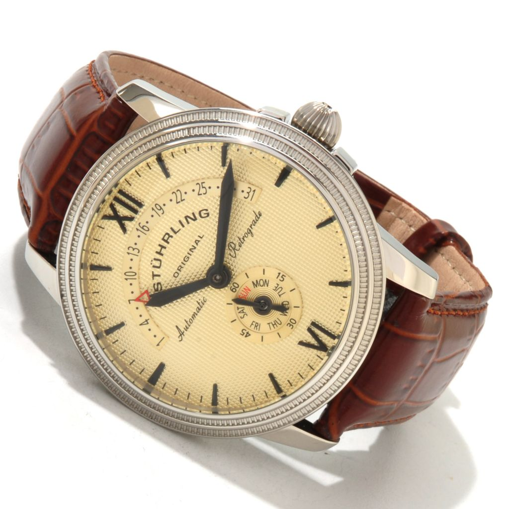 625-412 - Stuhrling Original Men's Saturnalia Chairman Leather Strap Watch