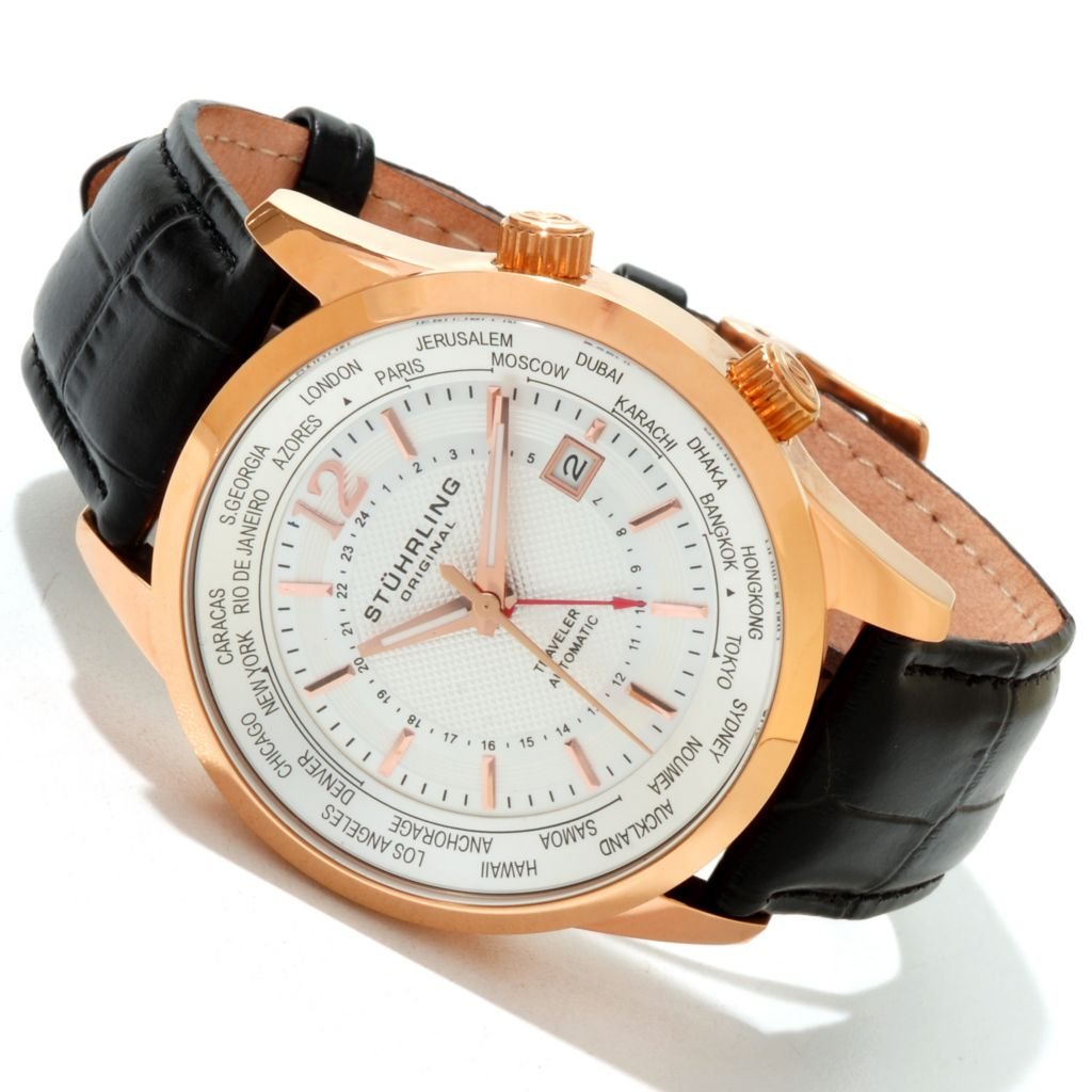 625-415 - Stührling Original Men's Explorer Automatic GMT Stainless Steel Leather Strap Watch