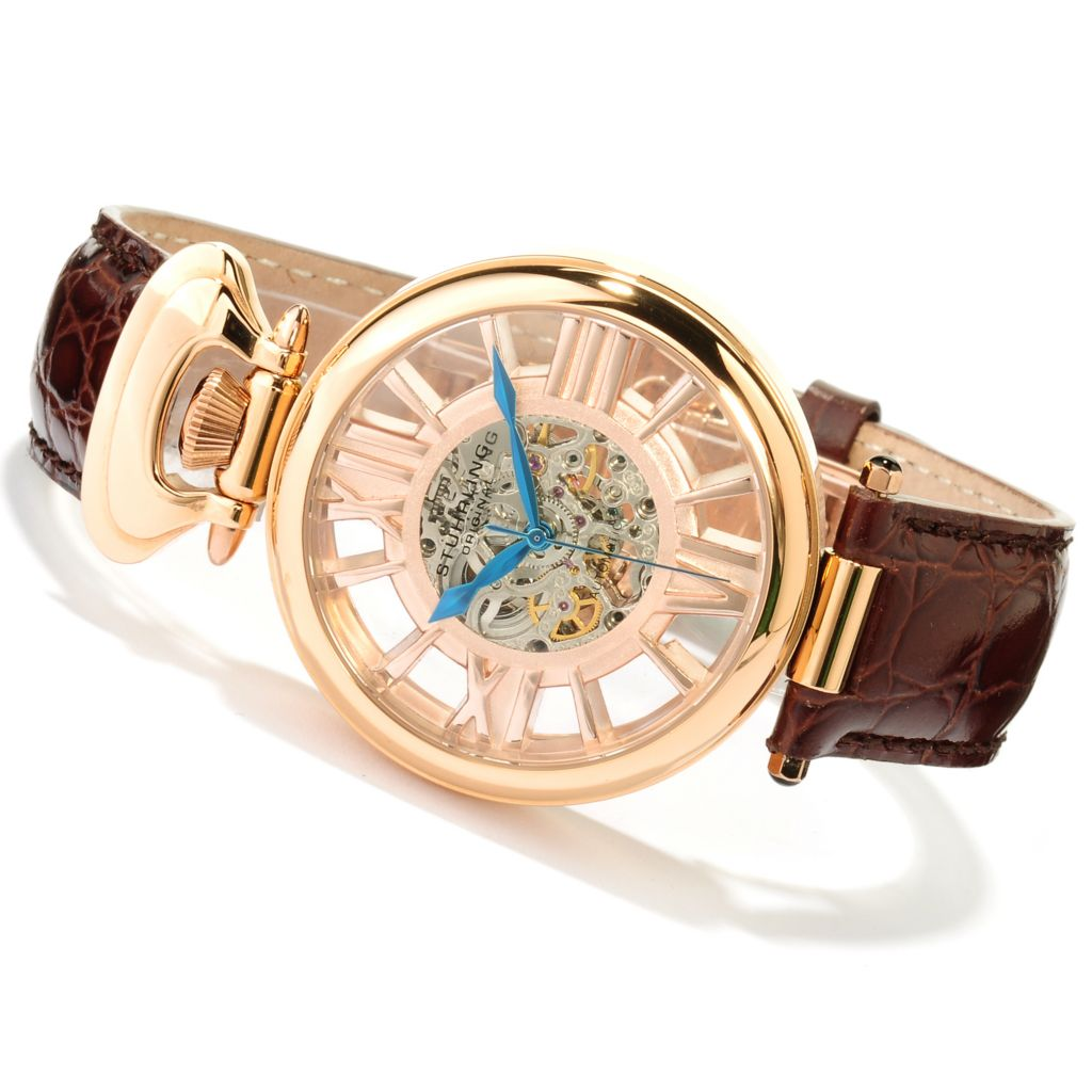 625-417 - Stührling Original 41mm Roman Emperor Automatic Skeletonized Dial Leather Strap Watch