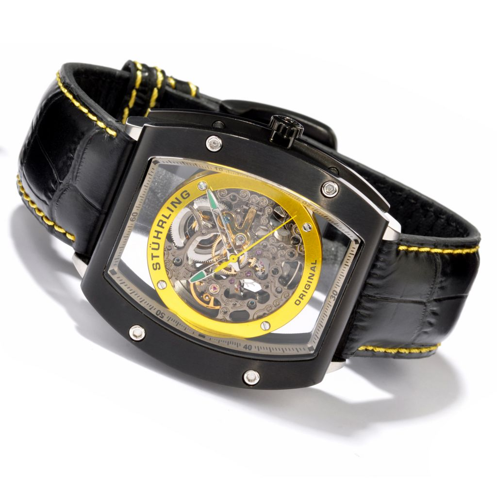 625-420 - Stührling Original Tonneau Neo Zeppelin Automatic Skeleton Leather Strap Watch